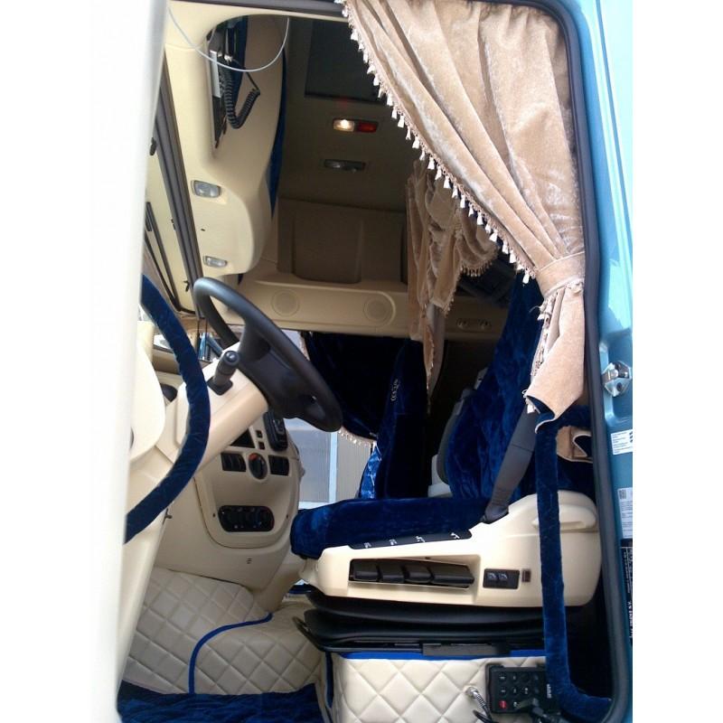 Rideaux complets velours beige modele arche avec ponpons - Decoration interieur camion ...