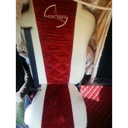 Housses de sièges sur mesures Bi-tons velours + skai pour Mercedes Actros Mp3 & 2012 avec logo.