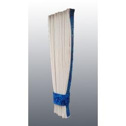 Rideaux Lateraux Hollandais Beige Avec Bordure Tissu Danois Bleu Ri
