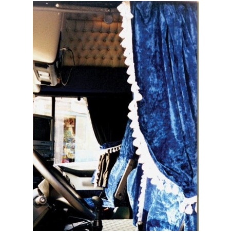 rideaux complets velours bleu modele arche avec ponpons rideaux com. Black Bedroom Furniture Sets. Home Design Ideas