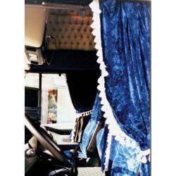rideaux lateraux velours bleu avec ponpons rideaux lat raux velours. Black Bedroom Furniture Sets. Home Design Ideas
