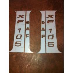 Habillage inox montants de portes Daf Xf 105 avec marquage.(la paire)