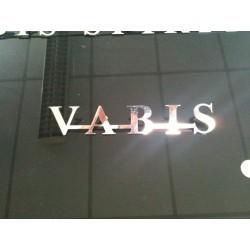 """Logo Inox Old Scool """"VABIS"""" à boulonner.  230mm x 40mm épaisseur 3mm."""