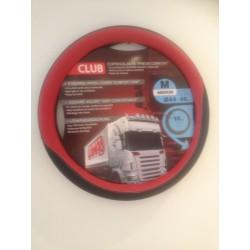 COUVRE VOLANT CLUB SIMILI CUIR NOIR/ROUGE 44/46CMS